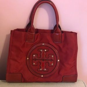 Tory Burch Red Nylon Large Tote